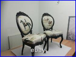 Occasional chair antique Victoriana. Dark oak finely carved frames