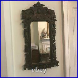 Old Antique Carved Oak Wooden Victorian Framed Wall Mirror c. 1890 Wood Fine