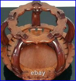 Old Chinese Large Fine Wood Stand Base Hand Carved For Vase/bowl 8 Mint! Rare