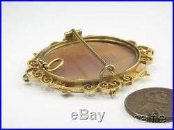 PRETTY ANTIQUE VICTORIAN 15K GOLD FINELY CARVED SHELL GODDESS CAMEO BROOCH c1890
