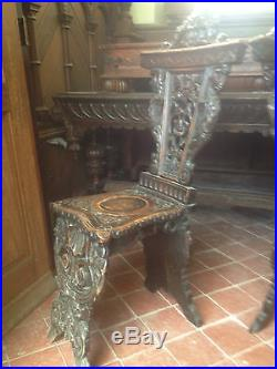 Pair Fine Carved Sgabello Walnut Renaissance Style Chairs Caryatid Griffin Demon