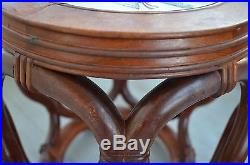 Pair Fine Old Chinese Carved Rose Wood And Porcelain Circle Chair