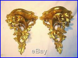Pair Of Fine & Rare Antique Italian Water Gold Gilded Carved Wood Wall Brackets