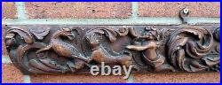 Pair circa 1680 antique Flemish early finely carved oak panels cherubs hounds