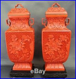 Pair of Fine Vintage Chinese Carved Cinnabar Lacquer Lidded Jars Vases