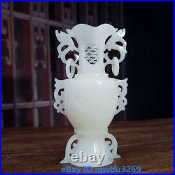 Q69 Fine Chinese Hand-carved Natural Afghanistan Jade Dragon statue Vase