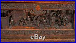 Qing Chinese Antique Wood Carved Box with Fine Details