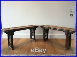 REDUCED Fine Pair of Antique Chinese Carved Lacquer and Rattan Altar Tables