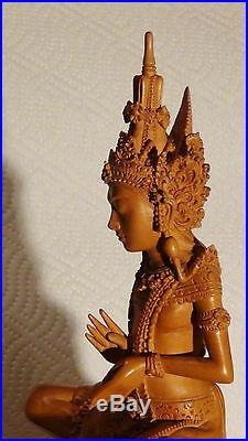 Rare Antique Chinese Fine Wood Hand Carved Quan-yin On The Lotus Statue