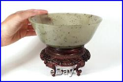 Rare Antique Chinese Finely Carved Unusual Green Jade Bowl Exquisite Wood Stand