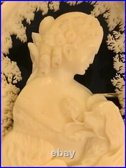 Rare Antique Victorian Lady Dog Fine Detail Carved Mourning Brooch Pin 1800s