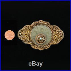 Rare Asian Antique Belt buckle Vermeil Fine Hand Carved Celadon Jade Accented