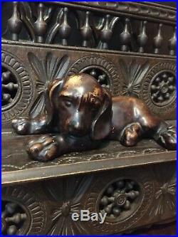 Rare Fine Antique Black Forest Hound Dog Wooden Carved Walnut Figure
