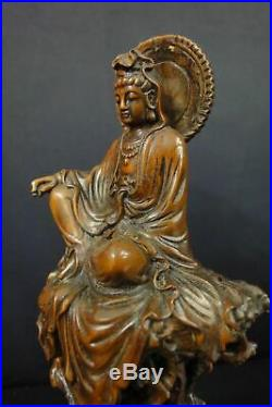 Rare Fine Old Chinese Hand Carving Boxwood GuanYin Buddha Statue Sculpture