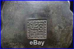Rare Fine Old Chinese Hand Carving Lotus Crabs Ink Stone Ink Slab Marks