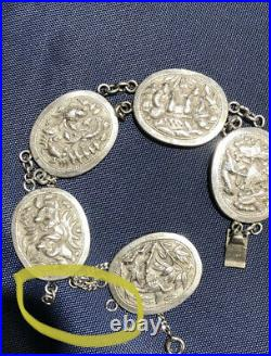 Rare Finely Carved Antique Chinese Asian Wang Hing  POSSIBLY Silver Bracelet