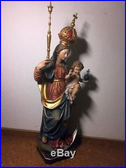 Rare fine vintage hand carved wood Our Lady Mary Madonna Bavariae & Jesus Statue