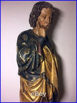 Rare large fine antique hand carved wooden Patron Saint St. John statue 18/19th