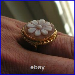 Ring Beautiful Loose Antique Victorian Finely Carved Shell Cameo Size 8