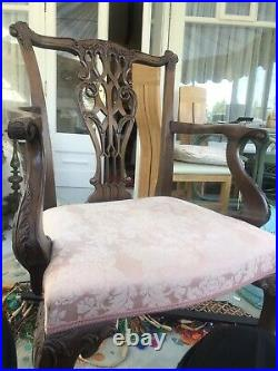 SET OF 10 Fine Carved Antique / Vintage Mahogany Chippendale Chairs. 8+2 Carvers