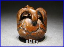 SIGNED Fruit NETSUKE 18-19thC Japanese Edo Antique for INRO Fine Carving