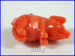 SUPERB Antique Victorian Hand Carved Coral PIG Charm Pendant w Gold Bail FINE