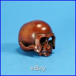 SUPERB Fine Japanese Carved Wood Netsuke Skull