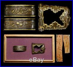 SUPERB SIGNED FUCHI/KASHIRA Very Fine Carving 19thC Japan Edo Original Antique
