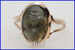 Scarce Antique 15k Gold Carved Cat's Eye Chrysoberyl Monkey Head Cameo Ring