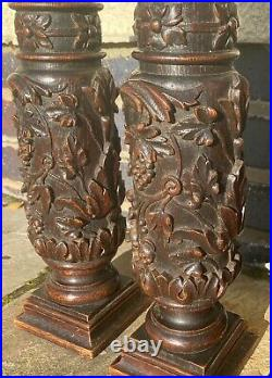 Set Of 4 Very Fine Solid Oak Antique French Carved Columns Wood Carving Lamps