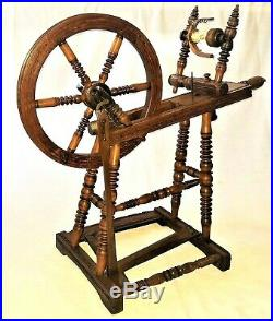 Spinning Wheel, Saxony style, oak, fine turnings, carved, early 1800, 30l