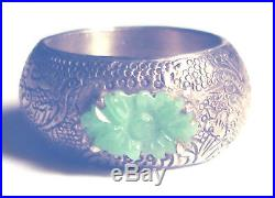 Stunning ANTIQUE 800 SILVER Chinese CARVED JADE Finely Etched BAND RING sz 8