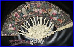 Stunning Antique finely carved Chinese Fan, hand painted both sides Qing period