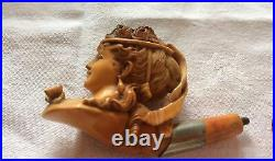 Stunning Finely Carved Meerschaum Pipe Lady Amber Silver col Antique Victorian