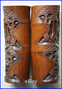 Stunning antique pair of bamboo brush pots, 30cm high & finely carved