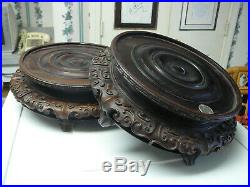 Stunning pair large King size Old Chinese finely carved wooden wood stands 11