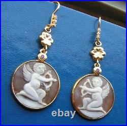 Style Antique Victorian Carved Cupid god of love Opposed Cameo Drop Earrings