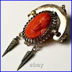 Superb Antique Victorian Carved Figural Red Coral Cameo, Neo Gothic Brooch