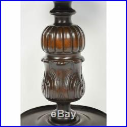 Superb Fine & Heavy Antique French Carved Barley Twist Standing Lamp Side Table