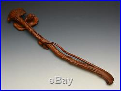 Superb Vintage Chinese Boxwood Huangyang Finely Carved Lingzhi Ruyi Scepter 19