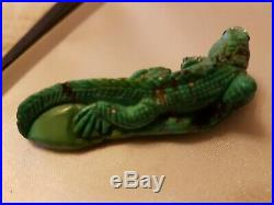 Torquoise Iguana Carving. Natural Finely Carved antique collectors item