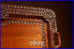 Two Colonial Very Fine Carved Wooden Trays