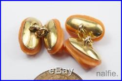 UNUSUAL ANTIQUE FRENCH 18K GOLD FINELY CARVED CORAL CUFFLINKS c1880