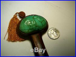 Unusual Chinese wooden ruyi scepter with finely carved jadeite inserts 19th/20thC