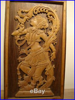 VERY FINE CARVED WOOD KRISHNA, Shiva women holding Bird wall Hang
