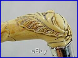 VERY FINE LARGE ANTIQUE WALKING CANE STICK HAND CARVED HANDLE sterling collar