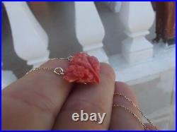 VINTAGE UNDYED MOMO RED CORAL CARVED FLOWER 14K PENDANT CHAIN NECKLACE 5.8gr