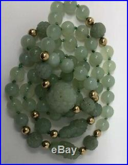 VTG RARE Fine Antique Chinese Carved Celadon Nephrite Beaded Necklace 14k Beads