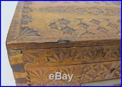 Very Fine 19th C. American Folk Art Carved Wood School Box c. 1860 antique