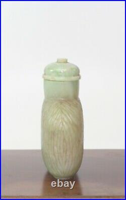Very Fine Antique Carved Hetian Celadon Jade Snuff Bottle, 1900's